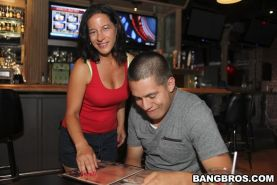 Horny waitress Melissa Monet picks up a guy in the local pub
