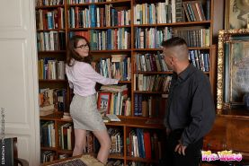 Nadia Bella hot librarian in short skirt is office fucked and cu