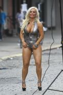 Nicole Coco Austin showing off her big assets and cameltoe in thong swimsuit on