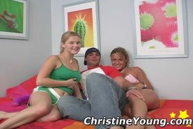 Threesome fucking photos with blonde teen Christine Young