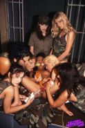 Military lesbians in gangbang sex with toys and strapons