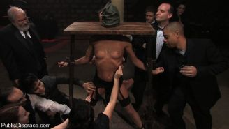 Excited girl satisfied and fucked hard in public bondage