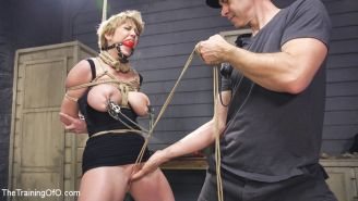 Darling takes the intensity to eleven with huge ball gags, multiple nipple clamp