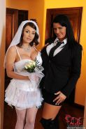 Clanddi Jinkcego big tits bride is bound and dominated by busty lezdom Rebecca J