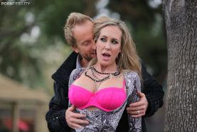 Chiseled blond stud sets his eyes on busty MILF Brandi Love and ravages her seas