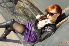 Mariana Cordoba On The Street With Her Cock Hanging Out