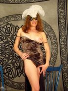 hairy mature lady strips everything including mardi gras mask
