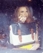 Nadine Coyle busty and leggy in a tight yellow mini dress arriving at Whisky Mis