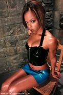 Marie Luv in latex bondaged and having rough sex in dungeon