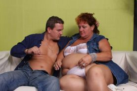 Fat mature babe Sherry doing what she does best and getting it with a handsome y