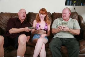 Horny redhead teen fucking with old guys for some cash