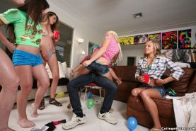 Amateur teen gives lap dance in sexy panties with college group