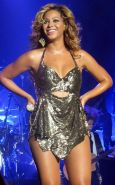 Beyonce Knowles in attractive white underwear