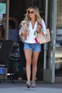 Ashley Tisdale leggy  see through to bra  leaving the Nail Garden Salon in Toluc