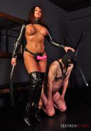 Mistress Carly makes her gimp slave suck