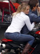 Cameron Diaz showing sexy and hot ass on a motorbike