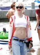 Gwen Stefani at the beach showing off her flat belly