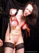 Extreme nipple bdsm and armbinder bondage of kinky british fetish submissive Emi