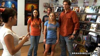 Amateur teens give blowjob and have groupsex at video store