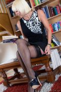 Sexy MILF Jan Burton plays librarian in black RHT nylon stockings