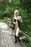Adorable blonde Sophia is amazingly posing in the park!