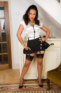 Perfect milf Donna stripping and posing in her ff retro nylons
