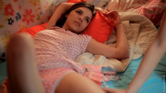 two petite teens in a sweet romantic lesbian game