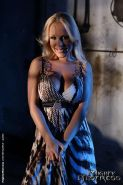Blonde dungeon slave girl Jessica Moore dominated by Lezdom