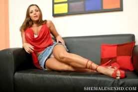 Beautiful shemale fucked hard on the couch