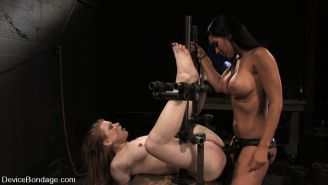 Madison Young is held captive in bondage with other girls by Mrs