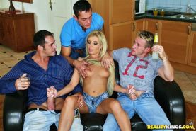 Young pornstar Donna Bell totally gangbanged in all holes
