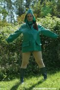 Rainwear and rubber boots fetish with wet pussy outdoors