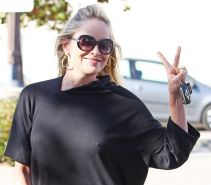Sharon Stone braless showing pokies outside the Tavern in Brentwood