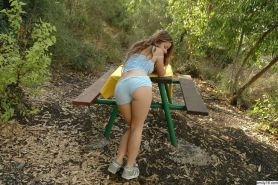 Lovely tiny girl Emily 18 enjoying her small tits and ass outdoors #68355852