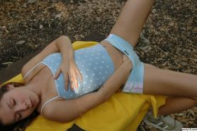 Lovely tiny girl Emily 18 enjoying her small tits and ass outdoors #68355885