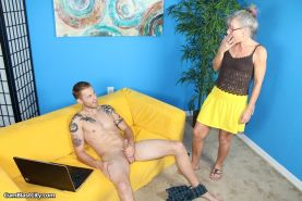 MILF Leilani Lei stroke a cock and gets covered in cum
