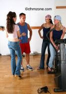 Two female personal trainers make men workout nude