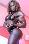 Sexy Black Female Bodybuilder with huge muscles