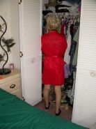 Hot blonde granny in her sexiest red slip cybers on web cam