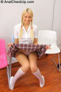 Pigtailed blonde teen Andrea Sultisz passes anal exam