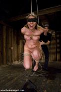 Blonde bound and blindfolded girl pleasing here Master