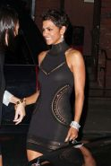 Halle Berry very leggy and hot in black mini skirt on street paparazzi shoots