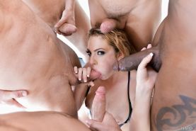 First Gangbang with hard double anal of Dahlia Sky