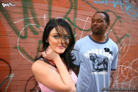 hot brunette Sophie Dee gets double penetrated by four blacks