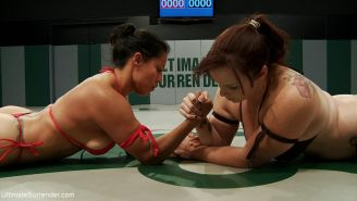 Kinky spanish lesbian wrestler strap-on fucked loser in the ass