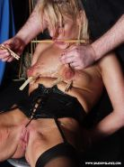 Chinese pegs and blonde bdsm for pussy tormented and nipple clamped cheeky slave