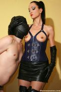 Leather mistress milf cum milking with a leather glove handjob