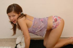 Petite teen with small tits drops her panties to tease shaved pussy #78743783