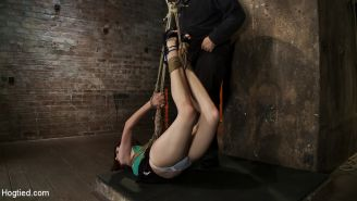 19yr old with huge FF natural breasts is hogtied, suspended, spanked, gagged,  m