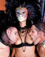 Amazing lady Sara Twain in a mask fucked by two cocks